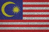 stock photo of stingray  - Malaysia Flag painted on stingray skin texture - JPG