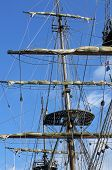 stock photo of mast  - mast of a ship replica of privateer for tourists - JPG