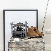 stock photo of shoe-box  - brown leather shoes and brush on wooden box - JPG