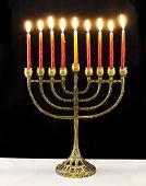 image of menorah  - jewish holiday Hanukkah background with menorah Burning candles isolated on black - JPG