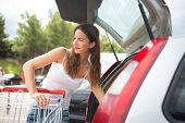picture of grocery store  - Beautiful young woman shopping in a grocery store - JPG