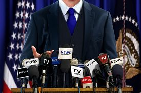 stock photo of politician  - Image of Politician at Media Press Conference - JPG