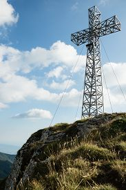 picture of apennines  - Summit cross in Apennine mountains - JPG