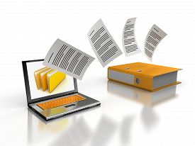 picture of three dimensional shape  - 3d image of laptop and folder - JPG