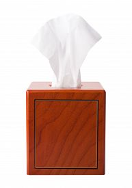 picture of tissue box  - Facial Tissue in a Wood Box isolated on white - JPG