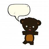 picture of bear-cub  - cartoon teddy black bear cub with speech bubble - JPG