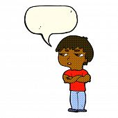 foto of annoying  - cartoon annoyed boy with speech bubble - JPG