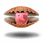 pic of money prize  - Savings treasure and financial wealth fortune concept as an open sea shell with a piggy bank as a precious pearl icon for the symbol of tax shelter or prized investment idea - JPG