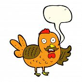 stock photo of rooster  - cartoon old rooster with speech bubble - JPG