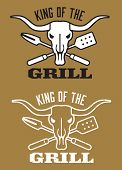 picture of skull cross bones  - Barbecue design with the words King of the Grill and cow skull with crossed barbecue fork and spatula - JPG
