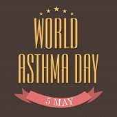 foto of asthma  - illustration of colorful stylish text for World Asthma Day in brown background - JPG