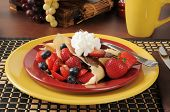 image of crepes  - Crepes filled with fresh strawberries and blueberries - JPG