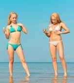 stock photo of denude  - Joy Couple on a Beach  - JPG