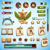 pic of wild west  - cartoon style elements for interface design in the game Wild West - JPG