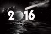 picture of comet  - Full moon and comet in sky with black water reflection for New Year 2016 - JPG