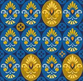 pic of oval  - On dark blue background gold and blue ovals with Golden flowers buds - JPG