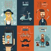 image of skinny  - Real free hipster in skinny jeans barber shop scooter flat icons composition poster abstract isolated vector illustration - JPG