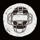 stock photo of umpire  - Baseball Catcher Doodle - JPG