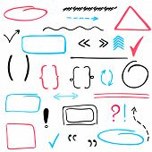 stock photo of oval  - Set of hand drawn correction elements - JPG