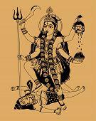 image of kali  - Indian goddess Kali on a beige background - JPG