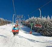 pic of lifted  - chair lift on Mount Serak for downhill skiers  - JPG