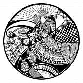picture of trippy  - Black and white abstract zendala on circle - JPG
