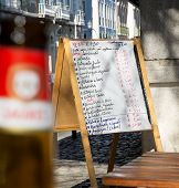 stock photo of pasteis  - A restaurant Menu Blackboard written in portuguese - JPG