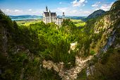 foto of bavarian alps  - Neuschwanstein Castle in the Bavarian Alps - JPG