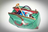 image of obstetrics  - Large open midwives bag on white background - JPG