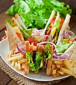 stock photo of tomato sandwich  - Club sandwich with cheese - JPG