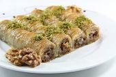 stock photo of baklava  - Turkish dessert baklava isolated on white background - JPG