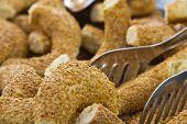 stock photo of bagel  - Turkish traditional breakfast  bagel simit bread sesame seed - JPG