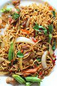 stock photo of stir fry  - Stir fried noodle spicy in pork on dish - JPG