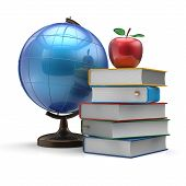 picture of geography  - Globe books and apple blank international global geography wisdom literature icon study knowledge symbol concept - JPG