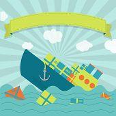stock photo of shipbuilding  - Cute cargo ship sinking - JPG