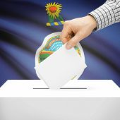 picture of kansas  - Ballot box with US state flag on background series  - JPG