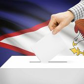 pic of samoa  - Ballot box with national flag on background series  - JPG