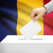 stock photo of chad  - Ballot box with national flag on background series  - JPG