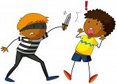 stock photo of outlaw  - Robber with a knife attacking a victim - JPG