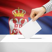picture of serbia  - Ballot box with national flag on background series  - JPG