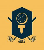 picture of caddy  - golf design over cream background vector illustration - JPG