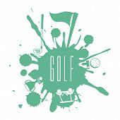 stock photo of miniature golf  - golf design over white background vector illustration - JPG