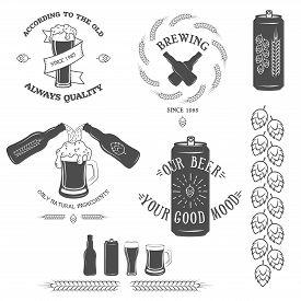 stock photo of emblem  - Vintage beer emblem and design elements Vector illustration - JPG