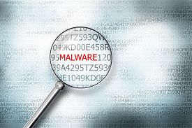 image of virus scan  - reading the word malware on digital computer screen with a magnifying glass internet security - JPG