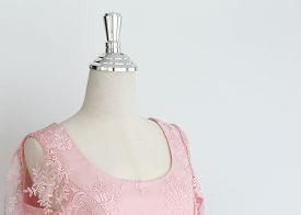 foto of dress mannequin  - pink wedding dress in model mannequin - JPG