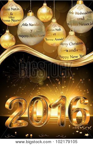 Happy new year 2016 greeting card poster id102179105 business christmas and new year greeting card with message in many languages english merry christmas and a happy new year french spanish german and m4hsunfo