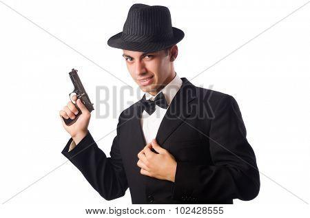 Poster: Young elegant man holding handgun