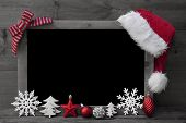 Black And White Christmas Blackboard, Red Santa Hat, Copy Space poster
