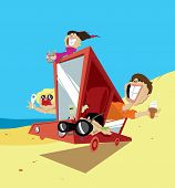 foto of console-mirror  - Illustration of an excited family on their way to a holiday destination - JPG