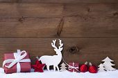 Golden Christmas Decoration, Snow, Tree, Reindeer And Gift poster